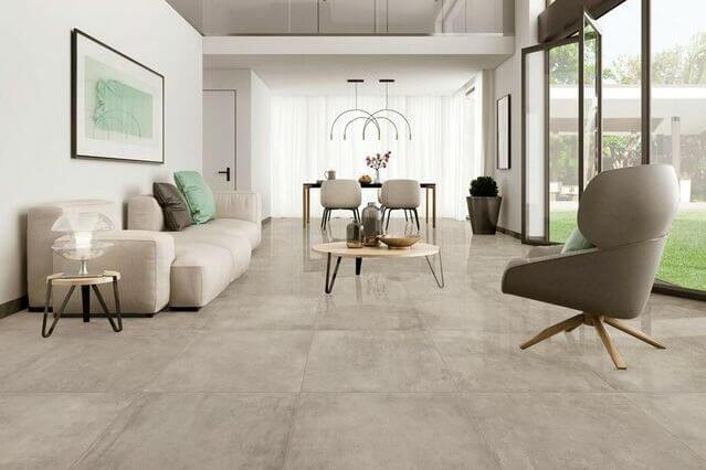 sala com piso vinílico cimento queimado
